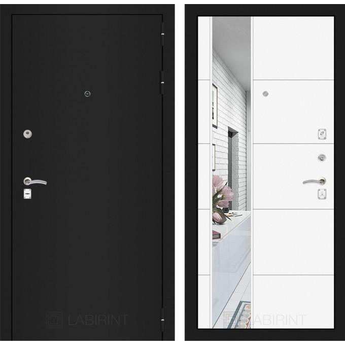 Дверь Лабиринт Classic 19 с зеркалом (Шагрень черная / Белый софт)