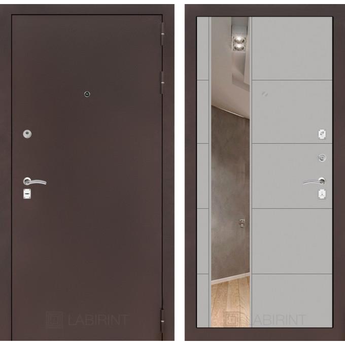 Дверь Лабиринт Classic 19 с зеркалом (Медный антик / Грей софт)