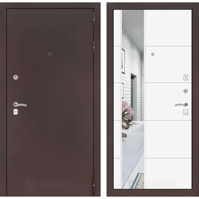 Дверь Лабиринт Classic 19 с зеркалом (Медный антик / Белый софт)