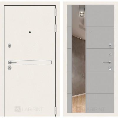 Стальная дверь Лабиринт LINE WHITE 19 с зеркалом (Грей софт)