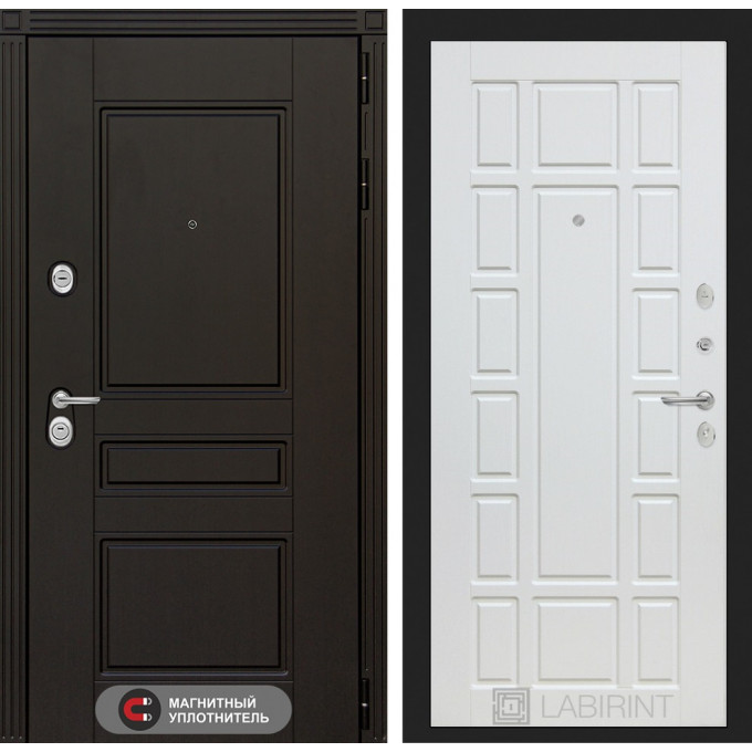 Стальная дверь Лабиринт Мегаполис 12 (Белое дерево)