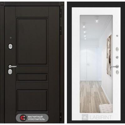 Стальная дверь Лабиринт Мегаполис 18 с зеркалом (Белое дерево)