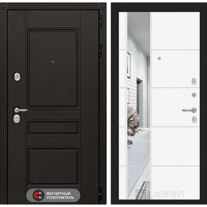 Стальная дверь Лабиринт Мегаполис 19 с зеркалом (Белый софт)