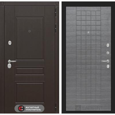 Стальная дверь Лабиринт Мегаполис 09 (Лен сильвер грей)