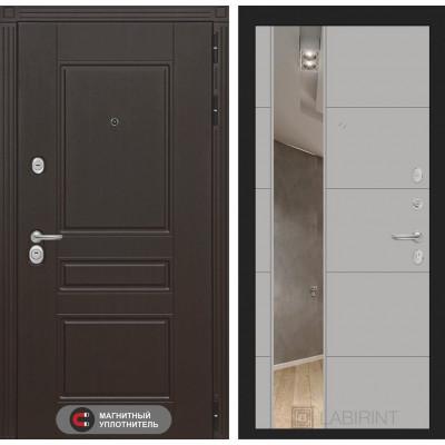Стальная дверь Лабиринт Мегаполис 19 с зеркалом (Графит софт)