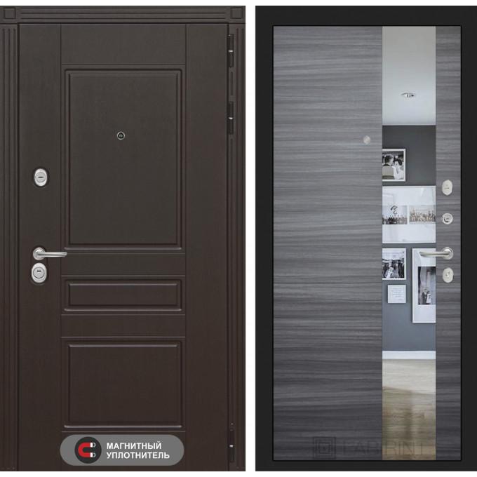 Стальная дверь Лабиринт Мегаполис с зеркалом (Сандал серый)