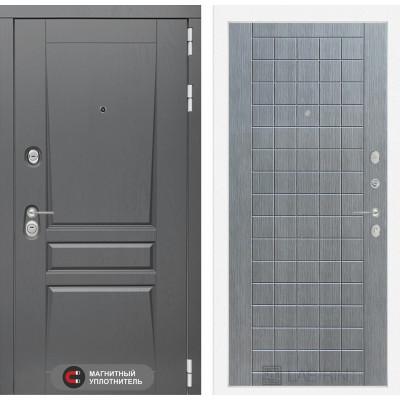 Стальная дверь Лабиринт Платинум 09 (Лен сильвер грей)