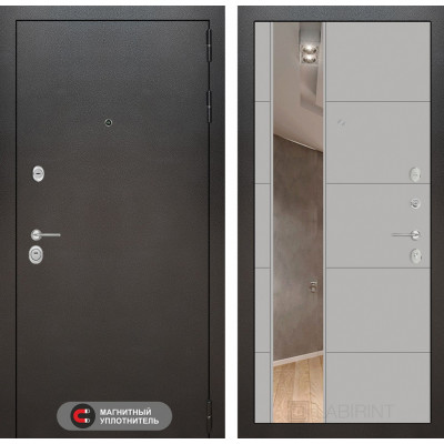 Стальная дверь Лабиринт SILVER 19 с зеркалом (Грей софт)
