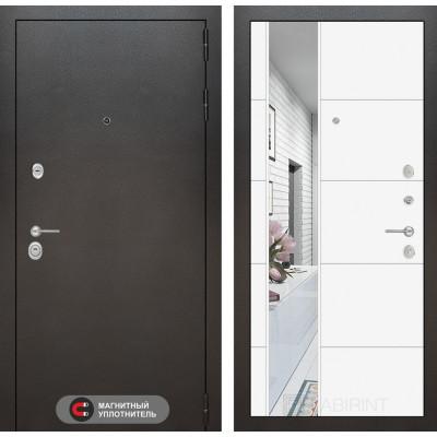 Стальная дверь Лабиринт SILVER 19 с зеркалом (Белый софт)