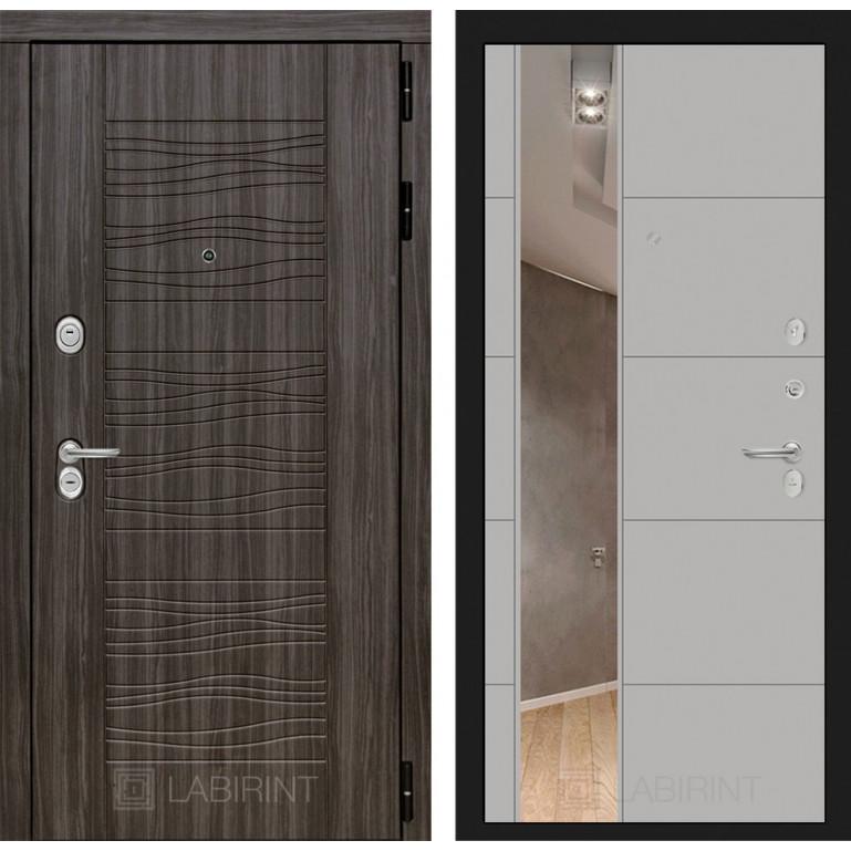 Стальная дверь Лабиринт SCANDI 19 с зеркалом (Грей софт)
