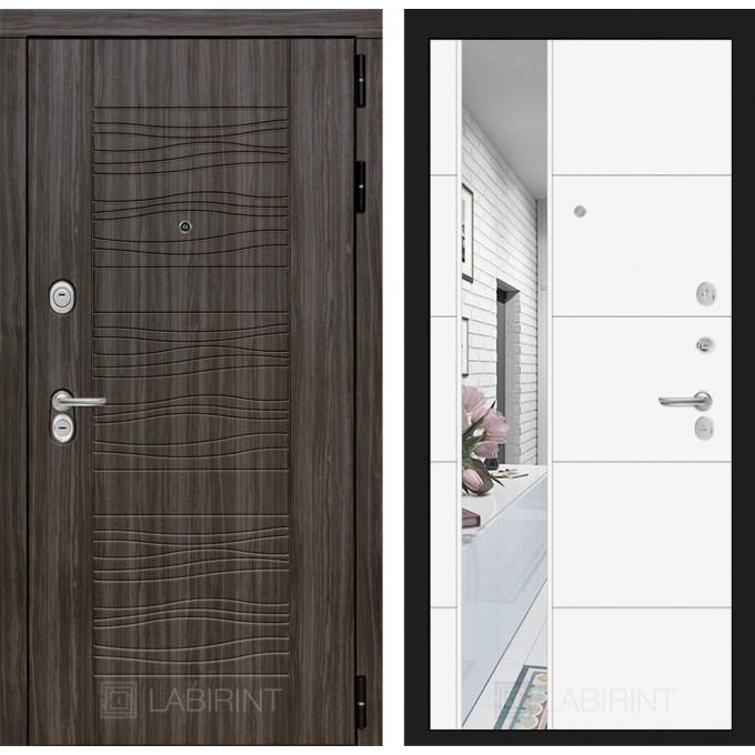 Стальная дверь Лабиринт SCANDI 19 с зеркалом (Белый софт)