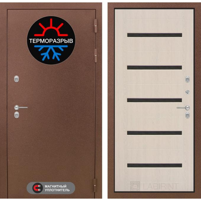 Стальная дверь Лабиринт Термо Магнит 01 (Беленый дуб)