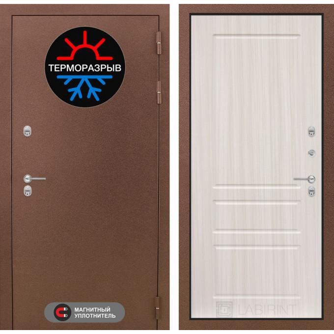 Стальная дверь Лабиринт Термо Магнит 03 (Сандал белый)