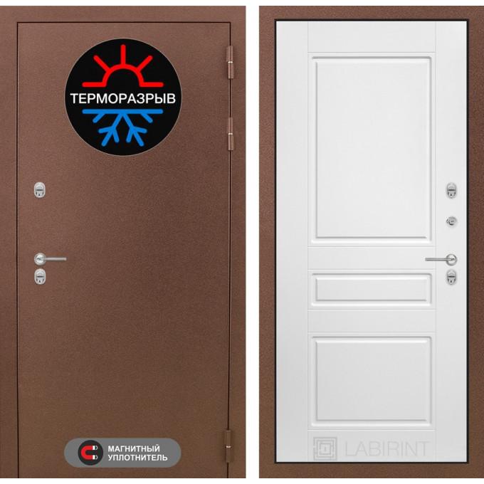 Стальная дверь Лабиринт Термо Магнит 03 (Белый софт)