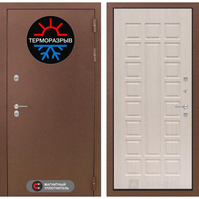 Стальная дверь Лабиринт Термо Магнит 04 (Беленый дуб)