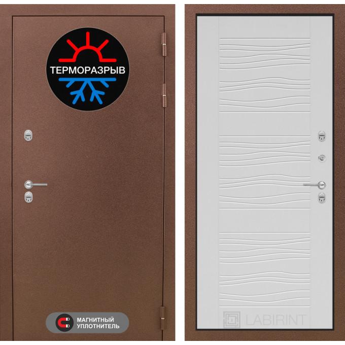 Стальная дверь Лабиринт Термо Магнит 06 (Белое дерево)