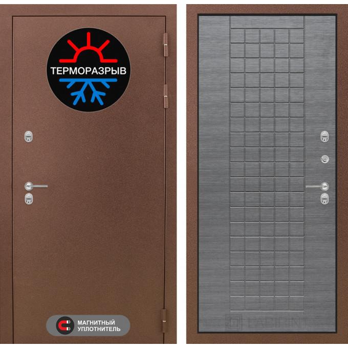 Стальная дверь Лабиринт Термо Магнит 09 (Лен сильвер грей)