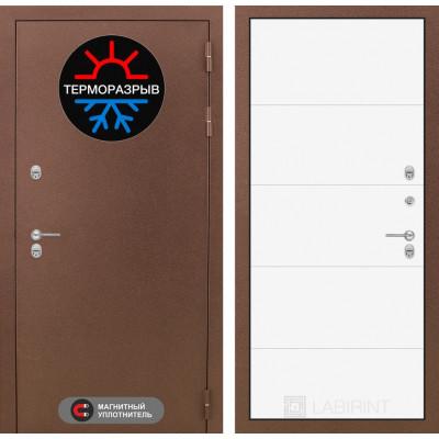 Стальная дверь Лабиринт Термо Магнит 13 (Белый софт)