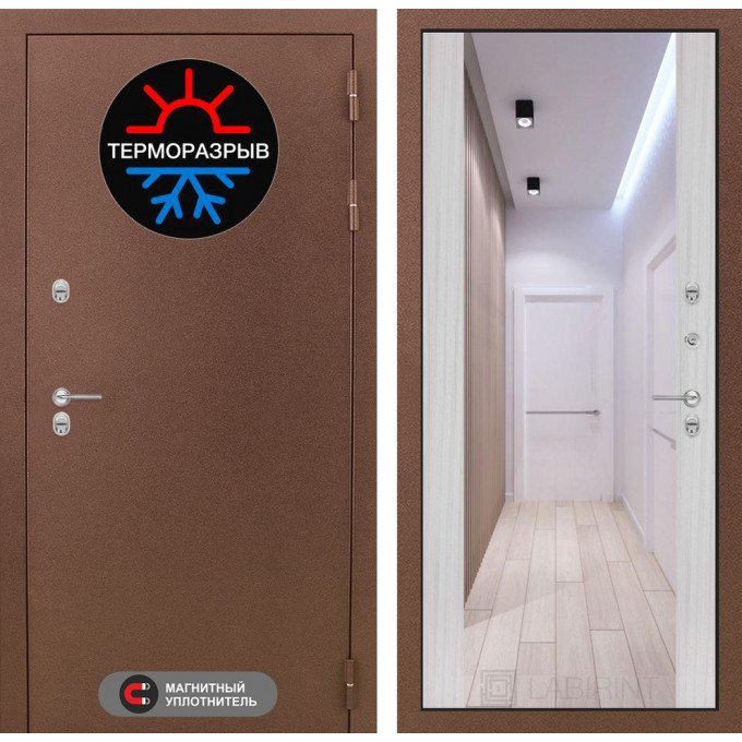 Стальная дверь Лабиринт Термо Магнит Максимум с зеркалом (Сандал белый)