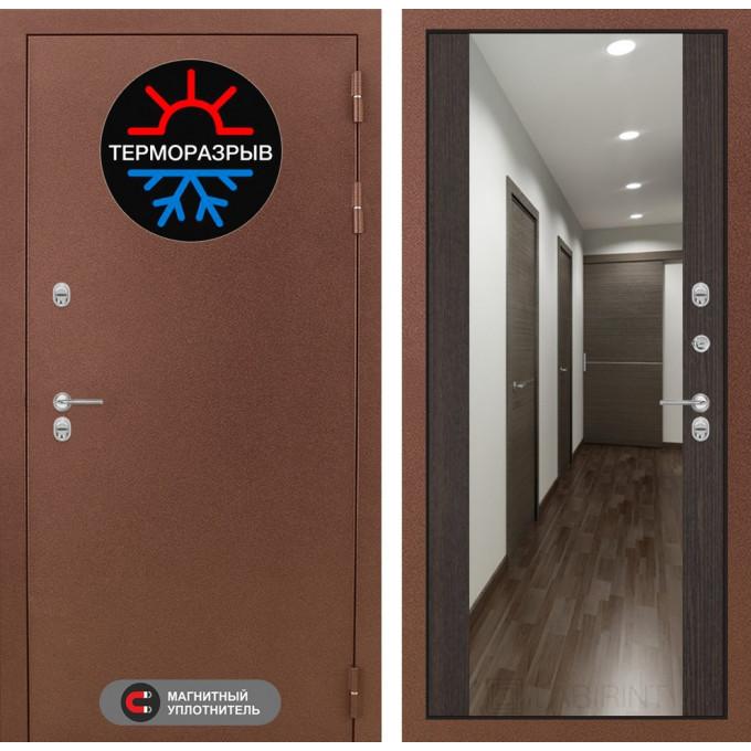 Стальная дверь Лабиринт Термо Магнит Максимум с зеркалом (Венге)