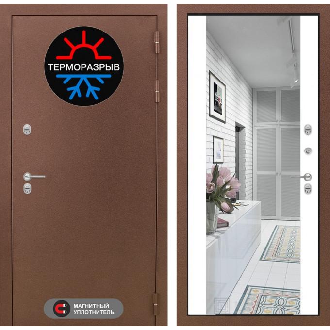 Стальная дверь Лабиринт Термо Магнит Максимум с зеркалом (Белый софт)