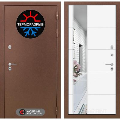 Стальная дверь Лабиринт Термо Магнит 19 с зеркалом (Белый софт)