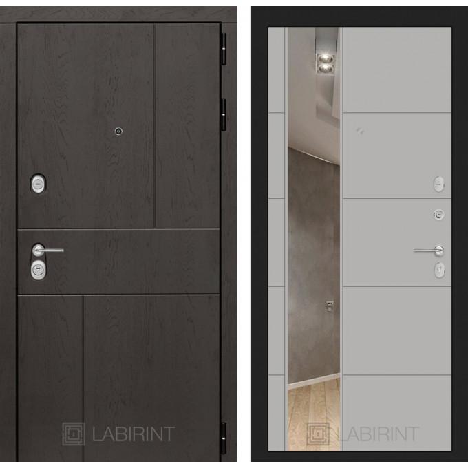Стальная дверь Лабиринт URBAN 19 с зеркалом (Грей софт)