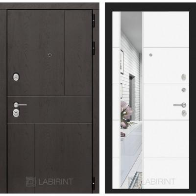Стальная дверь Лабиринт URBAN 19 с зеркалом (Белый софт)