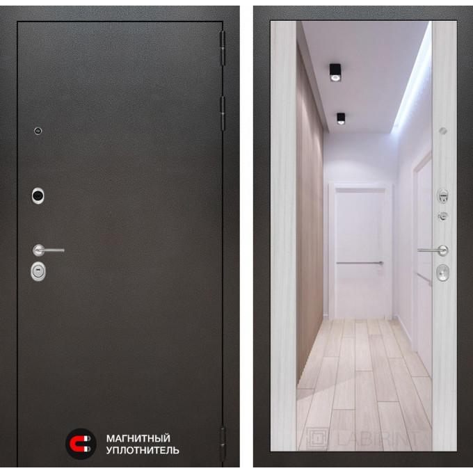 Стальная дверь Лабиринт SILVER Максимум с зеркалом (Сандал белый)