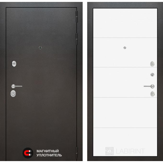 Стальная дверь Лабиринт SILVER 13 (Белый софт)