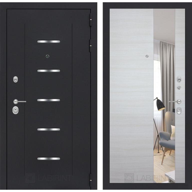 Стальная дверь Лабиринт ALFA с зеркалом (Акация светлая)