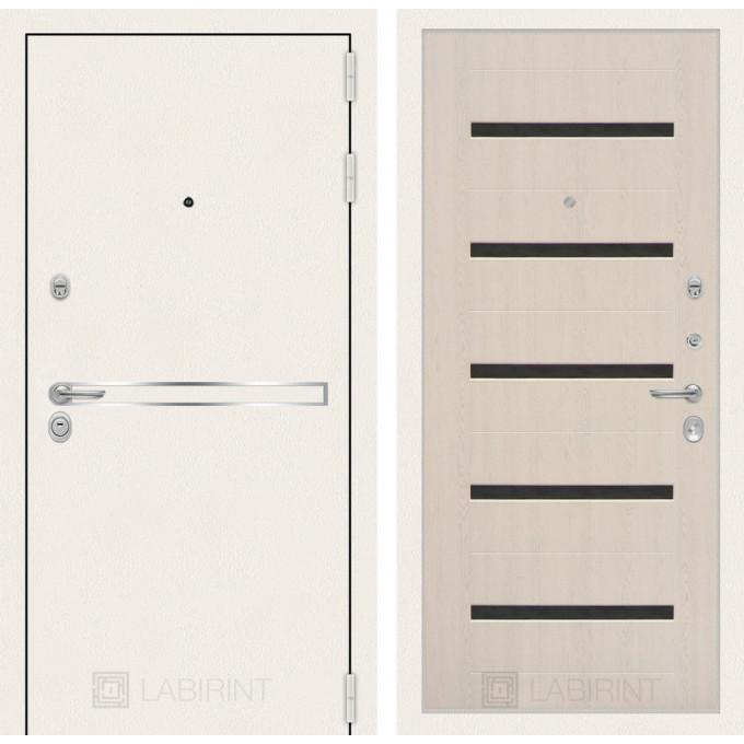Стальная дверь Лабиринт LINE WHITE 01 (Беленый дуб)