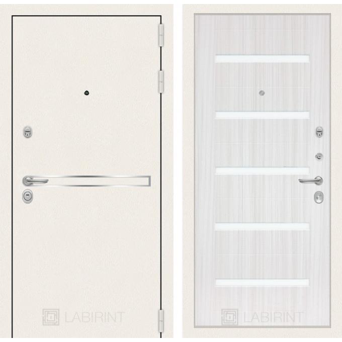 Стальная дверь Лабиринт LINE WHITE 01 (Сандал белый)