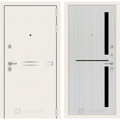 Стальная дверь Лабиринт LINE WHITE 02 (Сандал белый)