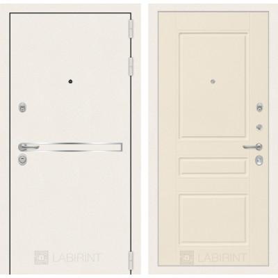 Стальная дверь Лабиринт LINE WHITE 03 (Крем софт)