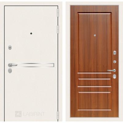 Стальная дверь Лабиринт LINE WHITE 03 (Орех бренди)