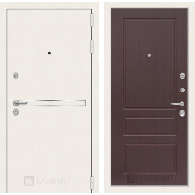 Стальная дверь Лабиринт LINE WHITE 03 (Орех премиум)