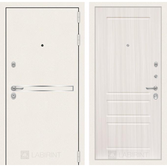 Стальная дверь Лабиринт LINE WHITE 03 (Сандал белый)