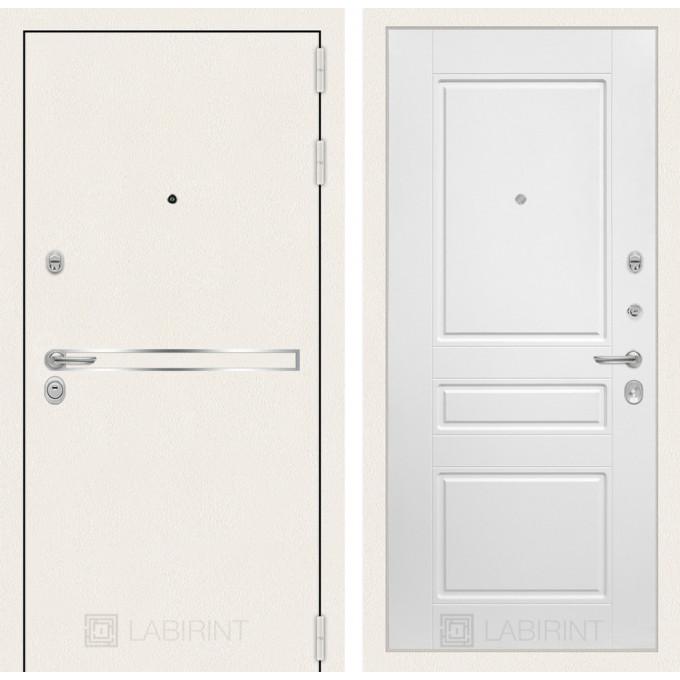 Стальная дверь Лабиринт LINE WHITE 03 (Белый софт)