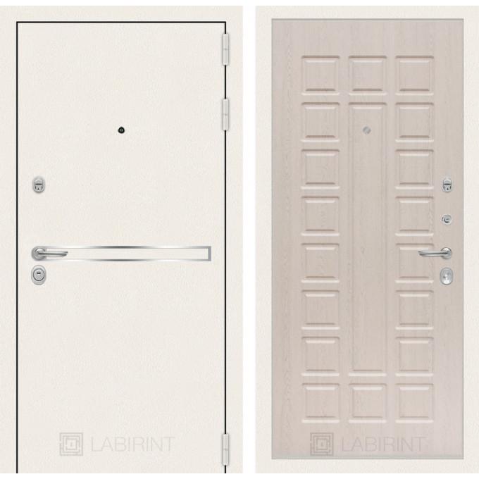 Стальная дверь Лабиринт LINE WHITE 04 (Беленый дуб)