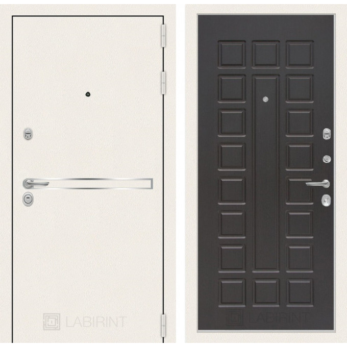 Стальная дверь Лабиринт LINE WHITE 04 (Венге)