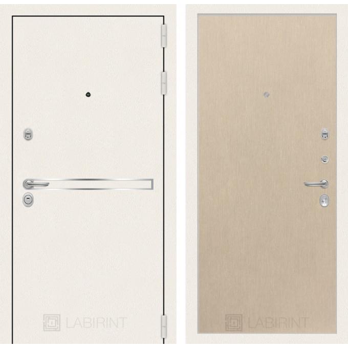 Стальная дверь Лабиринт LINE WHITE 05 (Беленый дуб)