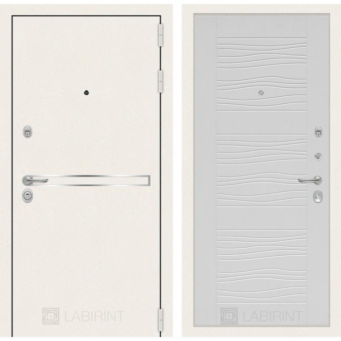 Стальная дверь Лабиринт LINE WHITE 06 (Белое дерево)