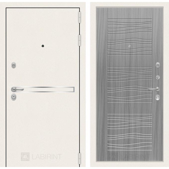 Стальная дверь Лабиринт LINE WHITE 06 (Сандал серый)