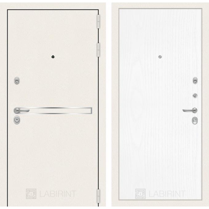 Стальная дверь Лабиринт LINE WHITE 07 (Белое дерево)