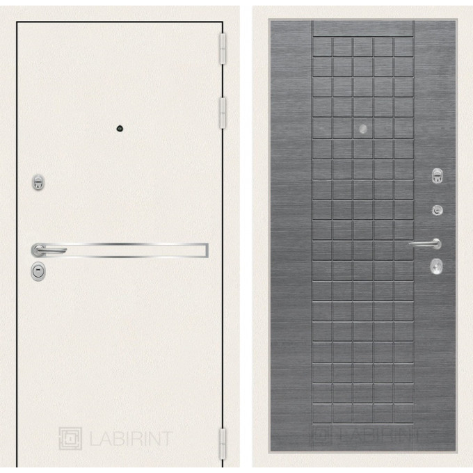 Стальная дверь Лабиринт LINE WHITE 09 (Лен сильвер грей)
