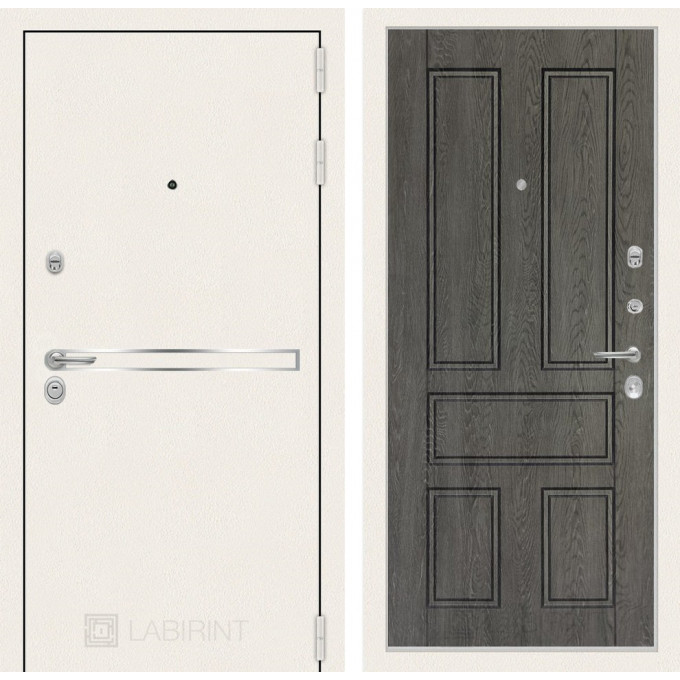Стальная дверь Лабиринт LINE WHITE 10 (Дуб филадельфия)