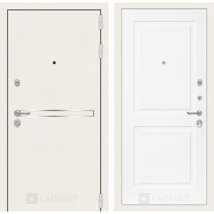 Стальная дверь Лабиринт LINE WHITE 11 (Белый софт)