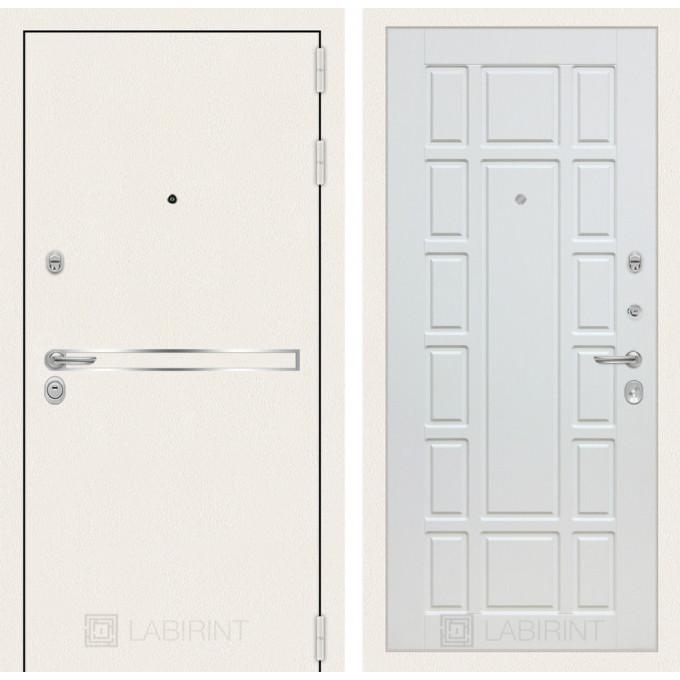 Стальная дверь Лабиринт LINE WHITE 12 (Белое дерево)
