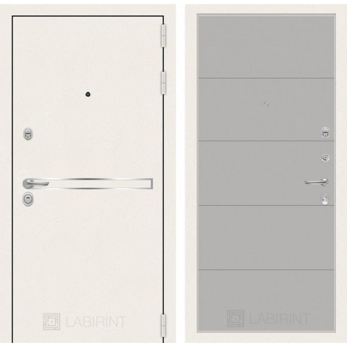Стальная дверь Лабиринт LINE WHITE 13 (Грей софт)